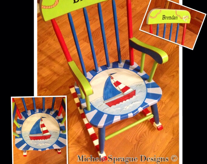 Whimsical Painted Furniture, ChildRocking Chair // Painted Rocking Chair // Child Rocking Chair
