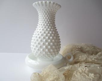 Vintage Fenton Milk Glass Hobnail Hurricane Lamp Set - Classic Home Decor