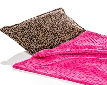 Girl Sleeping Mat, Girl Kinder Nap Mat, Girl Day Care Mat, Cheetah Print, Built in Hot Pink Minky Blanket and Pillow, Animal Print