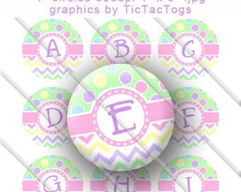 SALE -Chevron Spring Easter Polka dot Bottle Cap Images Digital Inch Circle Alphabet Alpha A-Z Images 4X6 - Instant Download - BC451