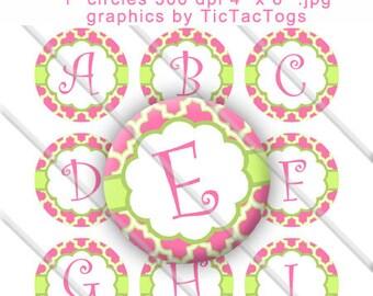 Pink and Green Quatrefoil Alphabet Bottle Cap Images Digital Collage 1 Inch A-Z Digi - Instant Download - BC457