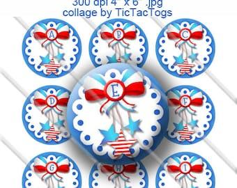 SALE - Patriotic Bow Bottle Cap Images Digital 1 Inch Circle Alphabet Alpha A-Z Red White Blue 4X6 - BC476