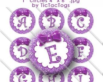 Purple Glitter Bottle Cap Images Bow Bling 1 Inch Circle A-Z 4x6 Alphabet Alpha - Instant Download - BC493