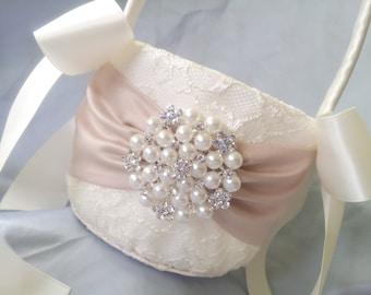 Ivory Flower Girl Basket Champagne Flower Girl Basket Pearl Rhinestone Accent Wedding Basket Unique