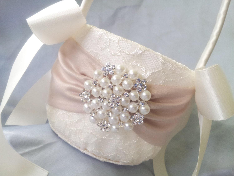 Flower Girl Baskets On Pinterest : Ivory flower girl basket champagne pearl