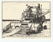 Antique Allis-Chalmers Gleaner-This 6-pack of blank, ivory cards with matching envelopes features a pen-and-ink drawing of a vintage gleaner