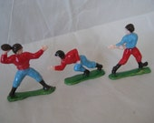 3 Football Player Cake Toppers Red Blue Green Brown Plastic Vintage Figurine