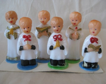 6 Choir Boys Cake Toppers White Orange Green Blue Plastic Vintage Figurine Catholic