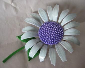 Flower Blue Purple Daisy Brooch Enamel Vintage Pin Pastel