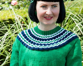 Ladies Handknitted 1950s style SunRay Trixie Sweater Emerald Green