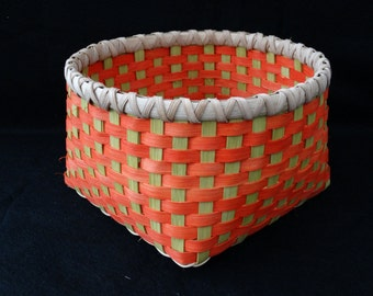 Hand Woven Basket in  Tangerine and Chartreuse (bright green).  Storage Basket. Basket. Hand made baskets in fun colors!
