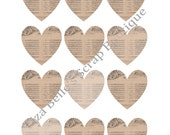 """Digital Download 2"""" French Sheet Music Hearts Valentine Scrapbooking Mixed Media Supplies Party Centerpiece Confetti"""