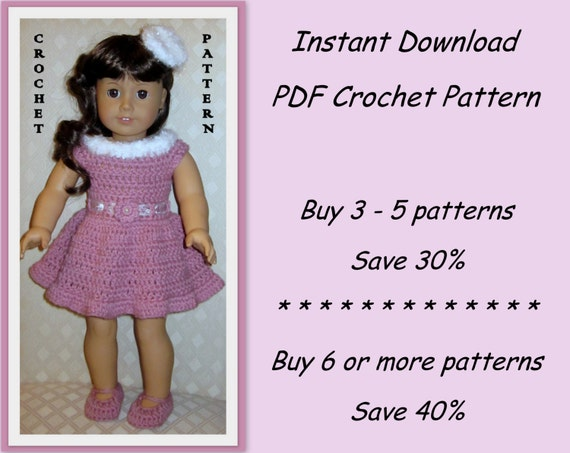 PDF crochet pattern 21 - dress, shoes and hairpin - outfit fits American Girl or other 18 inch doll