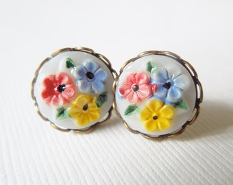 Tiny Vintage Floral Earrings painted in red yellow and blue stud