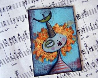 Unicorn lady with banana ACEO mixed media art card