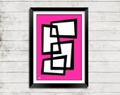Mid Century Modern Abstract Atomic Art Print - Hot Pink and 28 more Designs in 20 Colors 3 Sizes