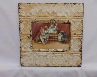 AUTHENTIC Tin Ceiling 5x7 Antique White Picture Frame Reclaimed Photo S2318-14