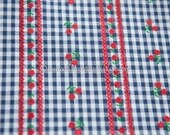 Adorable Flocked Gingham  - Vintage Fabric Sewing Doll Making Navy Blue Red Daisies