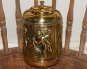 Rare Antique English Brass Dispenser With Dancing Cherub Children Lavabo ? Holy Water ? Marked England