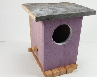 Hand made purple birdhouse bird house