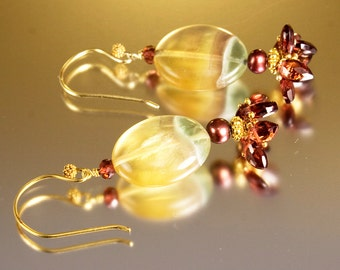 Garnet drop earrings. Beaded earrings with red, blue and yellow striped fluorite and garnet drops - Red Velvet