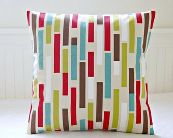 teal blue, lime green, red, brown abstract decorative pillow cover, retro cushion cover 16 / 18 inch
