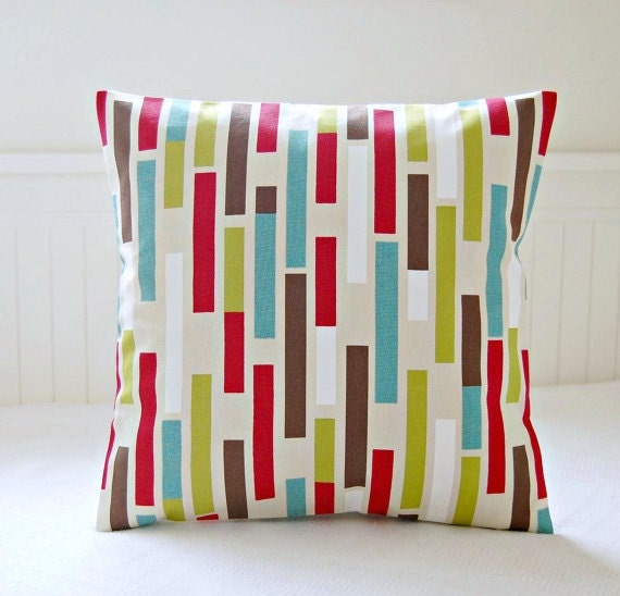 Teal Blue Lime Green Red Brown Abstract Decorative Pillow