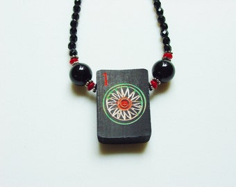 Antique Black Bamboo Mah Jong Tile Necklace / 100 Year Old Tile / Vintage / Antique / Rare / Exquisite / No. 1 Dot / Black Bamboo / OOAK