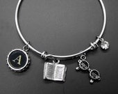 Book Bracelet Reader Glasses Adjustable Stackable Bangle Personalized Initial Readers Bookish Literary Jewelry