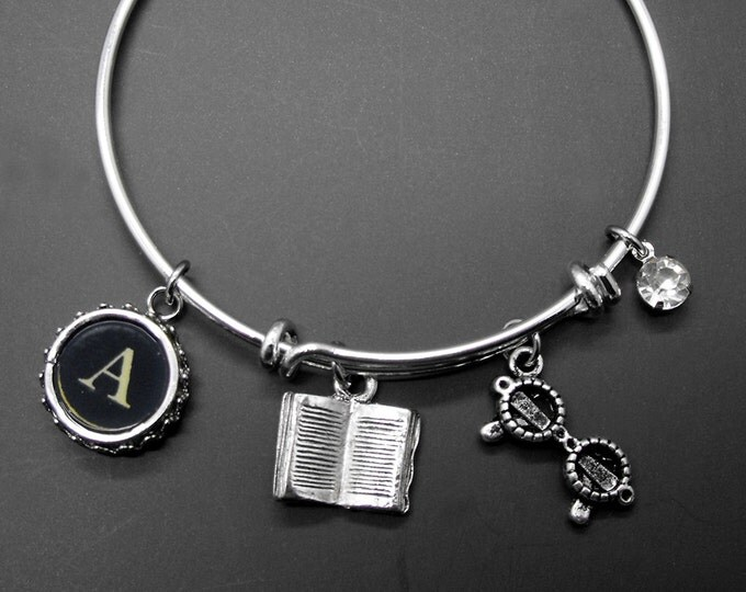 Book Glasses Adjustable Bangle Bracelet Personalized Initial Literary Jewelry