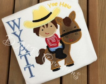 Yee Haw Cowboy or Cowgirl Applique Shirt