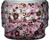 Pink & Brown Flowers PUL  Waterproof Cloth Diaper Cover