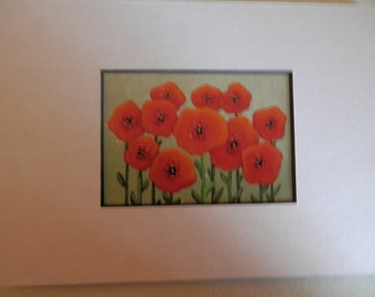 Matted ACEO Painting of Poppies