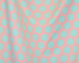 Baby pink aqua dots 1/2 yard knit