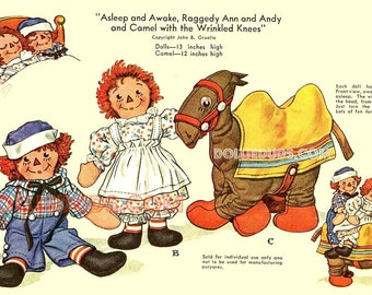 """Vintage 1950's 12-13"""" Stuffed Raggedy Ann and Andy AND Camel Doll Pattern 914"""