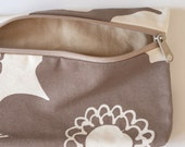 Small Flat Bottom Zipper Canvas Pouch - Brown Floral