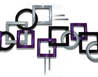 2pc Sterling n Purple Geometric Wood & Metal Wall Sculpture-Contemporary Modern Art handmade by DAS