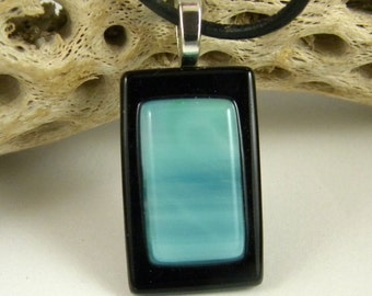 Handmade Ocean Blue Pendant - Fused Glass Jewelry - Fused Glass - Sterling Silver Plated Bail - Black Frame A2006B11