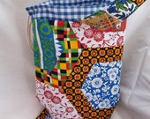 Knitting project bag, sock knitters bag, knit in public carry bag, zip notions pouch, pockets, crochet tote, cotton print knitting bag set