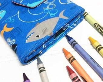 Shark crayon Wallet, Kids travel wallet, Shark gift, Crayon roll, Art party favors, Drawing kit, Art wallet, Student gift, Quiet book