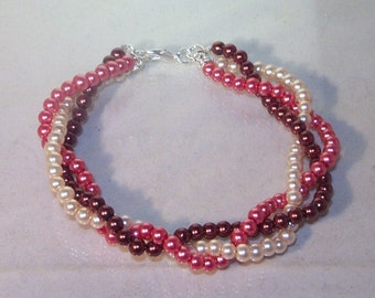 Pearl Jewelry - Bracelet - Bridal, Wedding, Special Occasion - Glass Pearls - Triple Strand - Available in All Colors