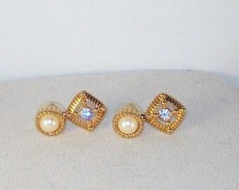 Vintage Pearl and Crystal Earrings