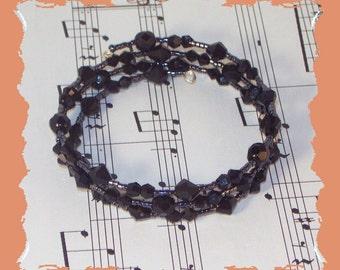 Memory Wire Bracelet - Black Czech Crystal