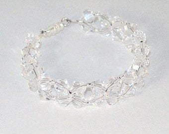 Swarovski Crystal Floral Bridal Bracelet - Shown in Clear Crystal - Made to Order