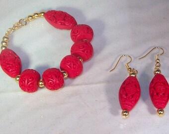 Carved Red Cinnabar - Bracelet & Earrings