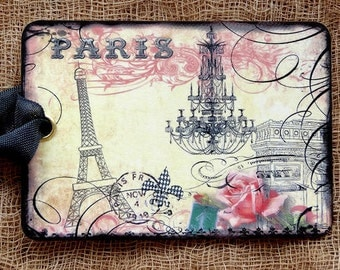 French Paris Eiffel Tower Chandelier Gift or Scrapbook Tags or Magnet #467