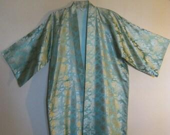 Vintage Japanese Kimono with Gold Metallic Flowers