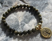 Golden Black Obsidian Mala Bracelet prayer beads rosary with Bodhi Tree charm - 27 beads