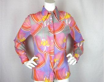 Vintage 60s 70s Mod Print Blouse, Sz S