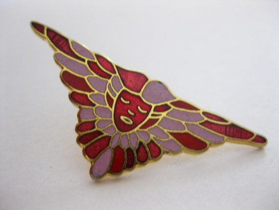vintage art deco cloisonne face brooch pin wings red by slockwoo. Black Bedroom Furniture Sets. Home Design Ideas